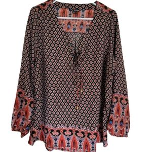 Time to Bloom boho long sleeve blouse 1X